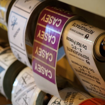 Close-up of packaging labels.